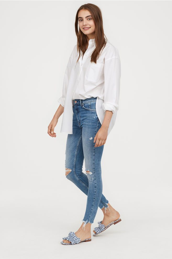 bd98d90c79a18 H&M Skinny High Ankle Jeans - Blue | Fashion & Style | Ankle jeans ...