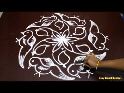simple flower rangoli designs with 11 to 1 dots for beginners small kolam designs