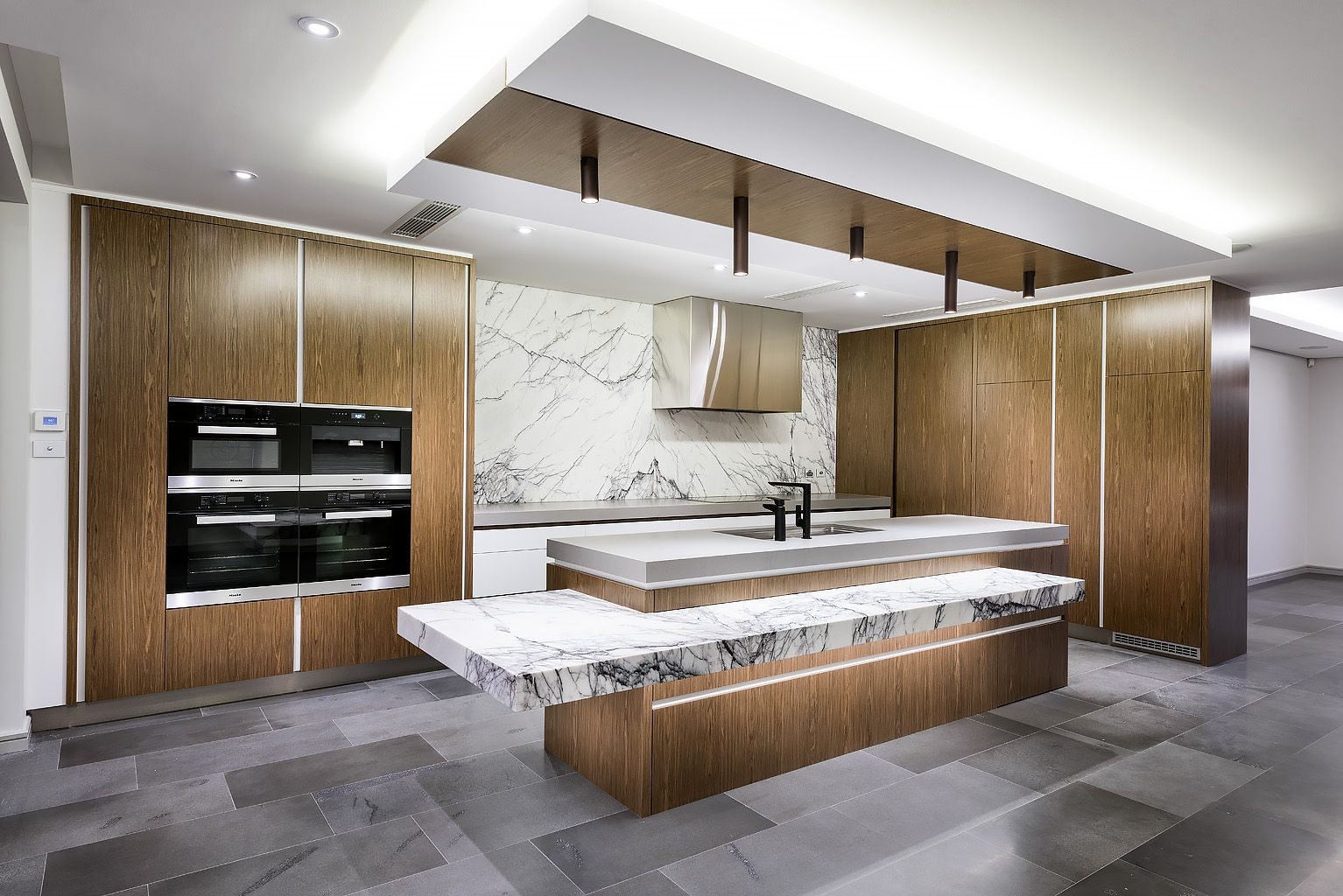 Timber Veneer Perth Luxurious Kitchen Featuring Marble And Exquisite Timber Veneer