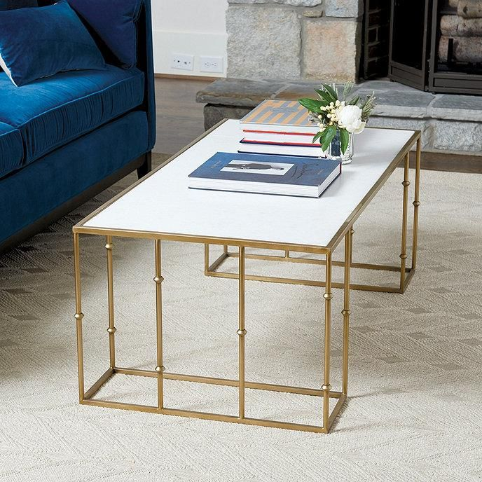 Boca Brass Bamboo White Marble Coffee Table