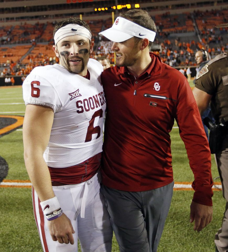 OU quarterback Baker Mayfield (6) and head coach Lincoln