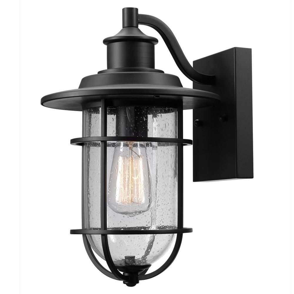 Globe Electric Turner 1-Light Black and Seeded Glass ... on Electric Wall Sconces Indoor id=89342