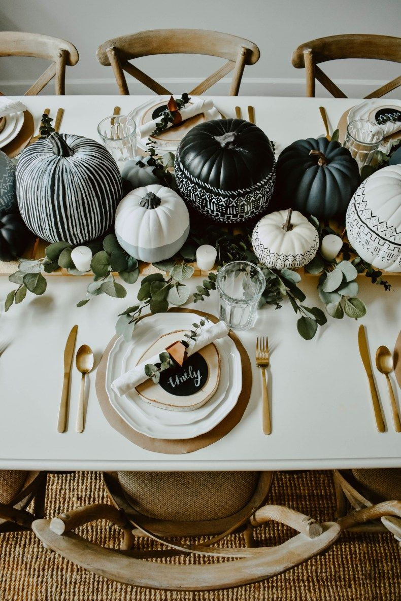 DIY Mud Cloth Pumpkins + Fall Tabelscape - House O
