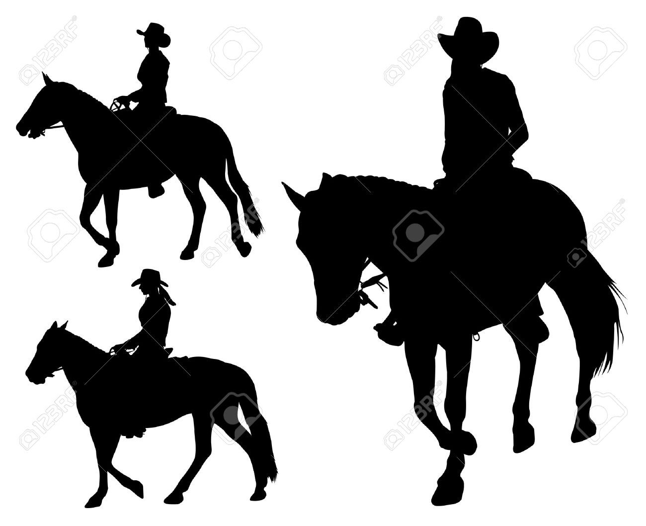 Cowgirl Riding Horse Silhouettes Royalty Free Cliparts Vectors