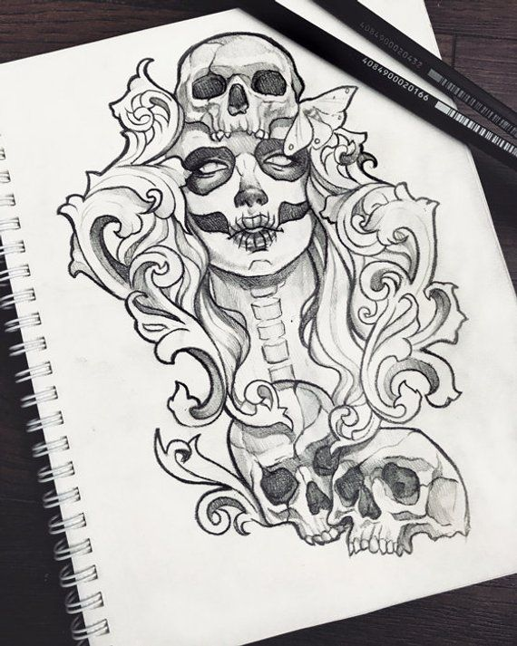 Muertos Skull Tattoo Design Ravens Grunge Roses Boho Fantasy Gothic Occult Sketch Original Art A5 1 Art Sketchbook Skull Tattoo Design Art Drawings Sketches