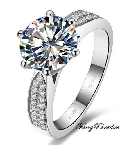 2 Carat Round Cut man made diamond (not CZ) Solitaire Engagement Ring 5eb1a51400