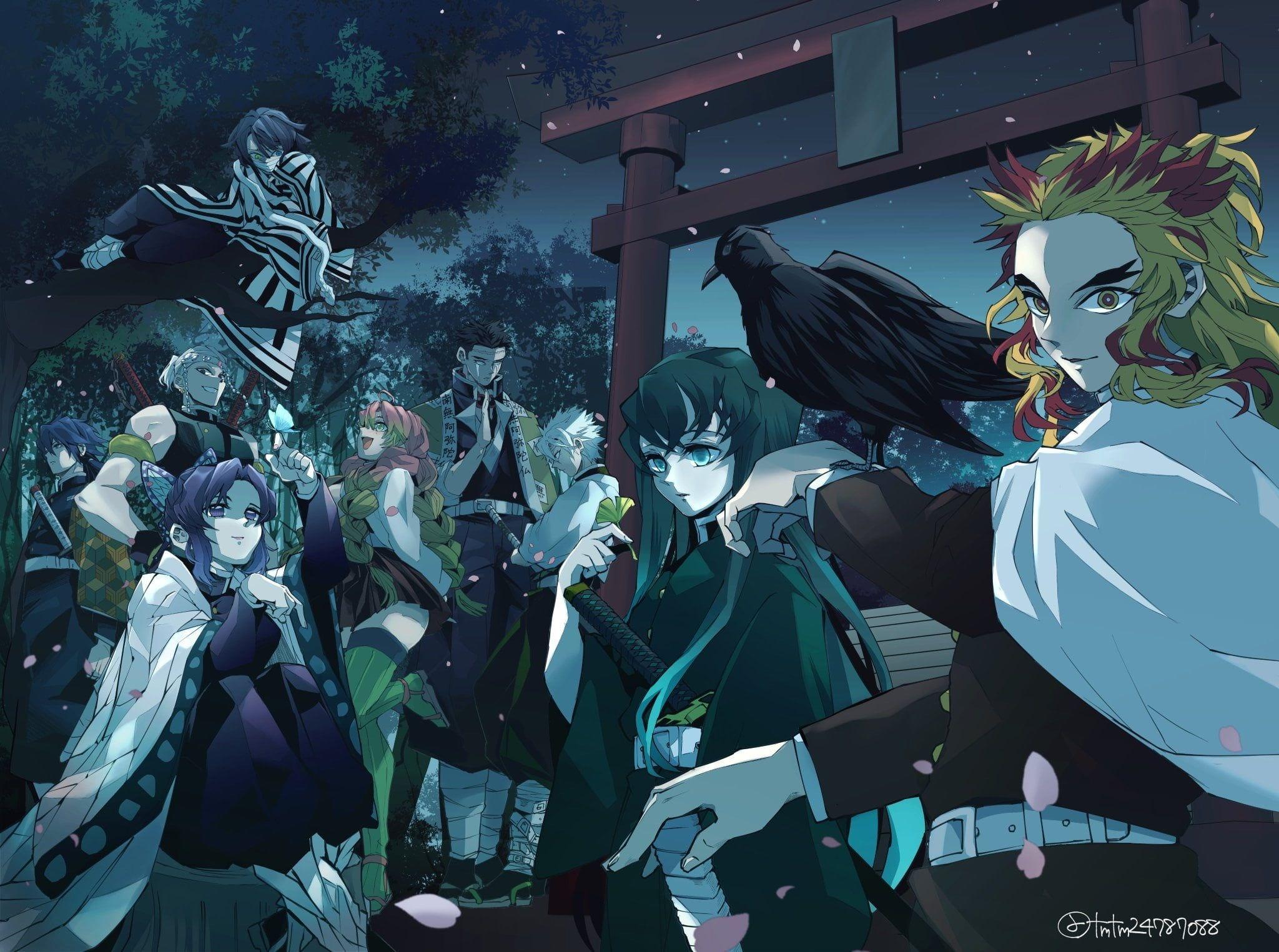Anime Demon Slayer Kimetsu No Yaiba Giyuu Tomioka Gyomei Himejima Kyojuro Rengoku Mitsuri Kanroji Muichiro Tokito Obanai Iguro Anime Demon Slayer Anime Anime Rengoku laughs while mitsuri giggles. anime demon slayer kimetsu no yaiba