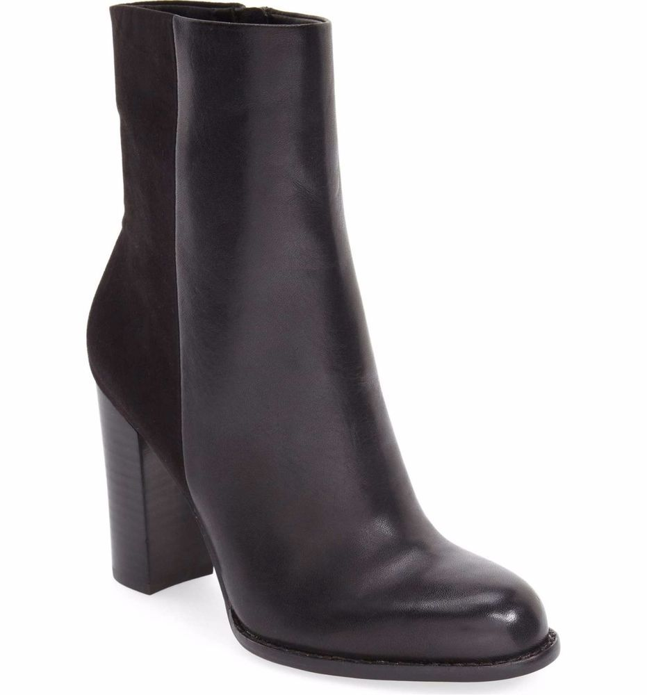 a39c42a11 SAM EDELMAN Sale Reyes Zip Heeled Ankle Boots Bootie Black Soft Leather 6.5   SamEdelman  AnkleBoots