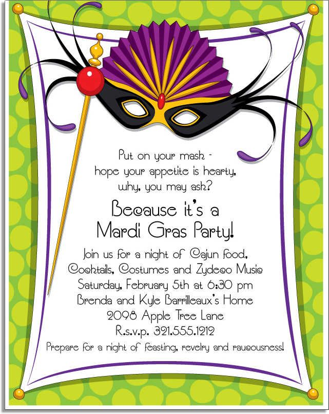 Mardi Gras Invitation Wording