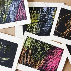 Art for kids and grown-ups! Basquiat inspired scratchboard cards you can make at home.
