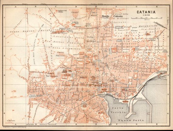 1908 Catania Sicily City Map Italy Antique Map Sicilia