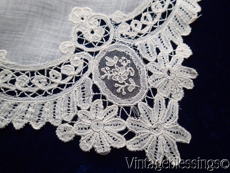 Antique Point de Gaze Brussels LACE Bridal Wedding Handkerchief