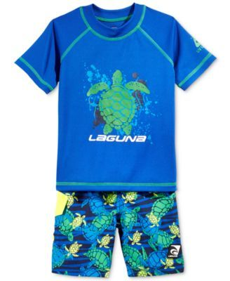 272638458a Laguna Toddler Boys' 2-Piece Rash Guard & Turtle-Print Swim Trunks Set