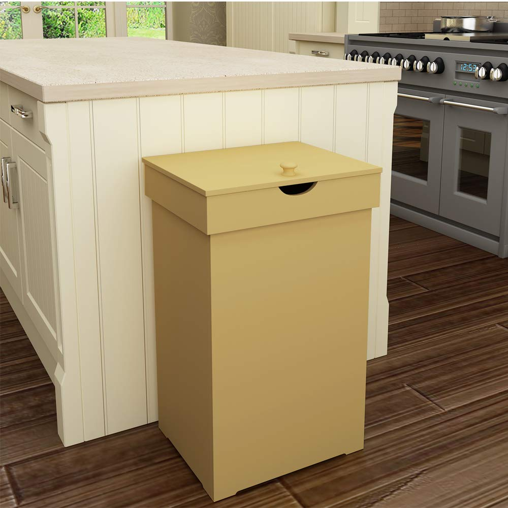 Amazon Com Home Like Kitchen Trash Can With Lid Country Trashcan Wood Trash Bin Garbage Can Wooden Tras Wooden Trash Can Kitchen Trash Cans Outdoor Trash Cans
