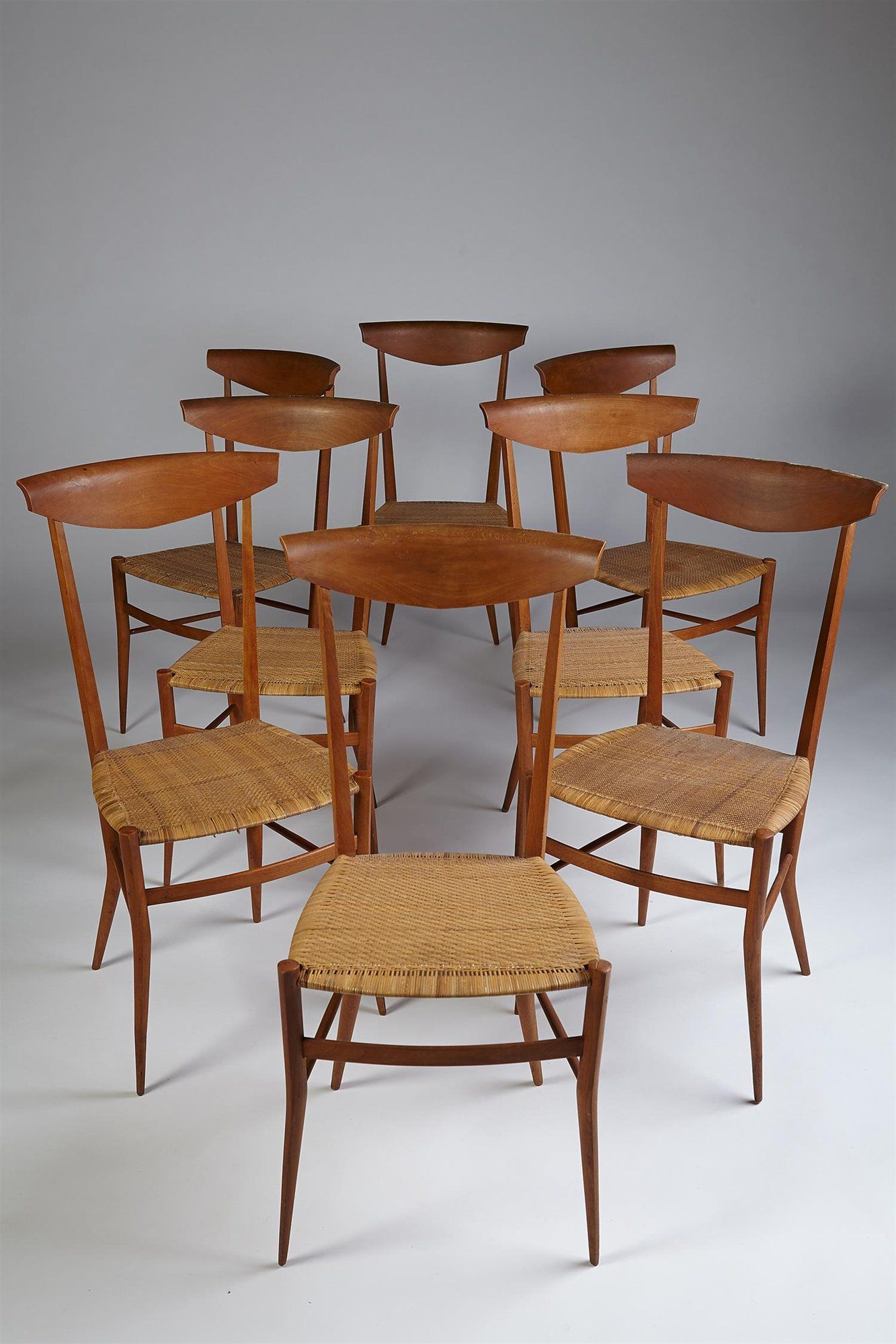 Set of eight chairs Chiavari Made by Sanguinetti Italy 1950 s Pear wood and cane