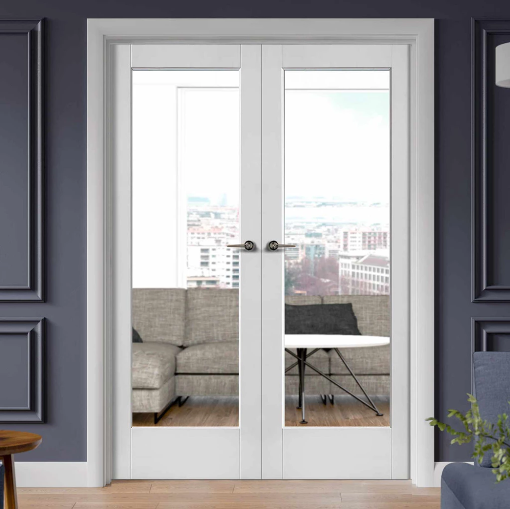 Pattern 10 White Primed French Door Pair Clear Glass In 2020 Internal French Doors Double Doors Interior French Doors