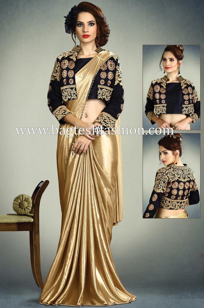 06010d7255 Golden Shimmer Lycra Saree   Wedding sarees in 2019   Saree wedding ...