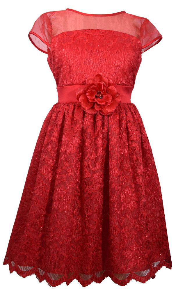 2ce731f71135 Bonnie Jean Girl Valentines Red Pageant Glitter Lace Dress 7 8 10 12 ...