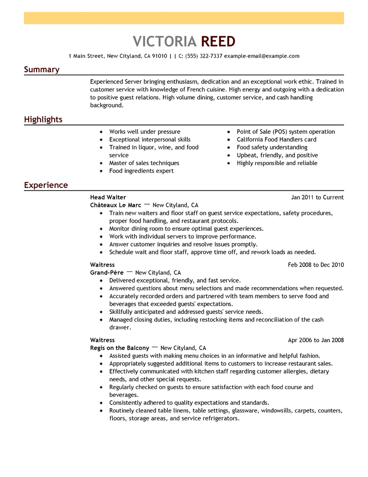 2018 Template Good resume examples, Server resume, Job