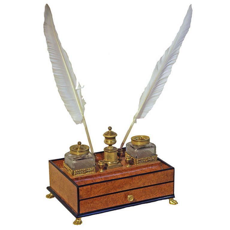 Early 19th Century French Empire Encrier | From a unique collection of antique and modern desk accessories at http://www.1stdibs.com/furniture/more-furniture-collectibles/desk-accessories/