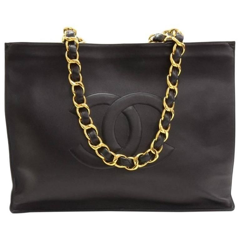 2c4dd3a0bd91 Chanel Vintage Black Caviar Chain Weekender Carryall Travel Shopper Tote Bag