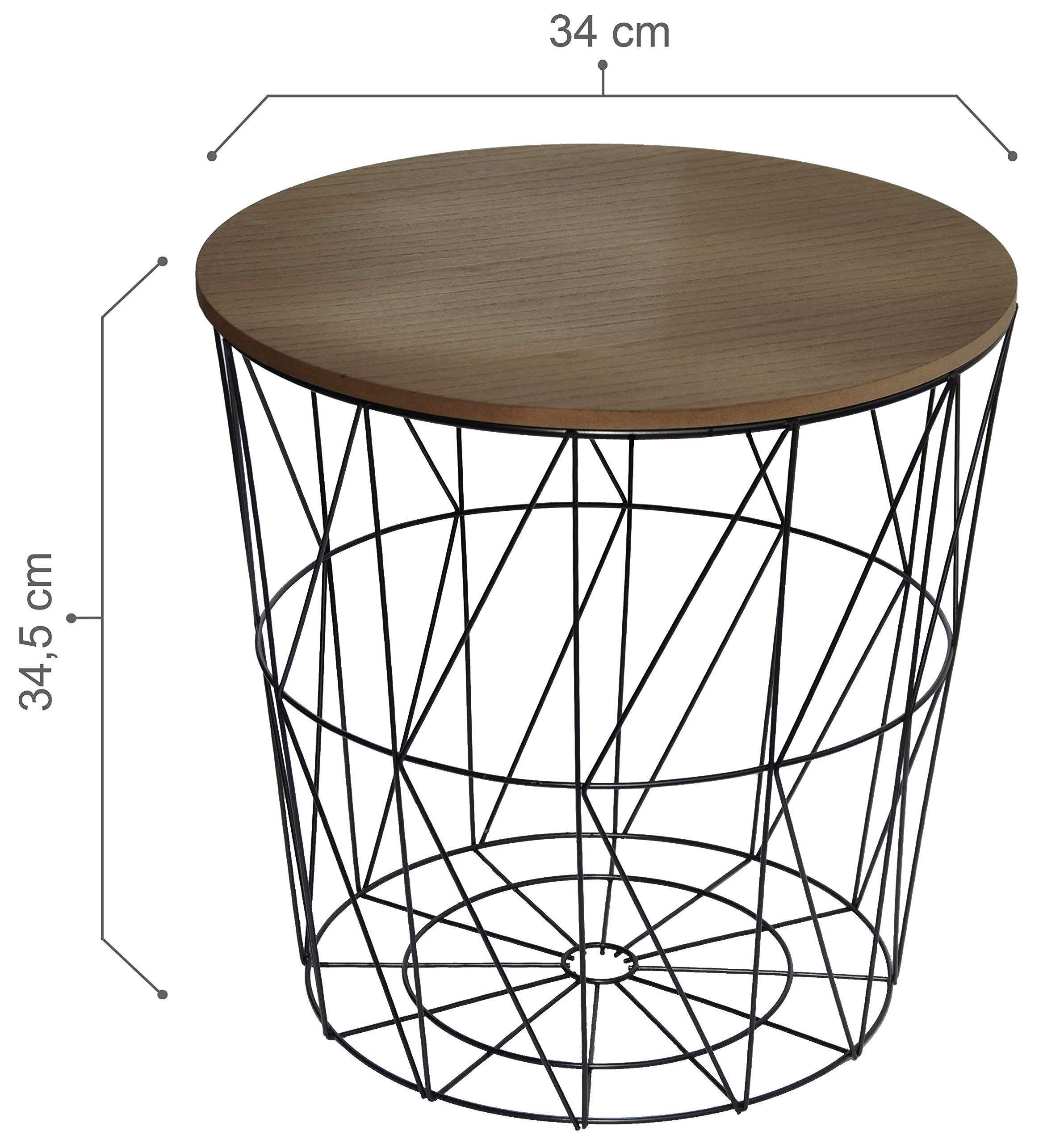 Calutea Moderner Beistelltisch Rund Drahtkorb Metall Schwarz Holz Design Braun In 2020 With Images Side Table Home Decor Table