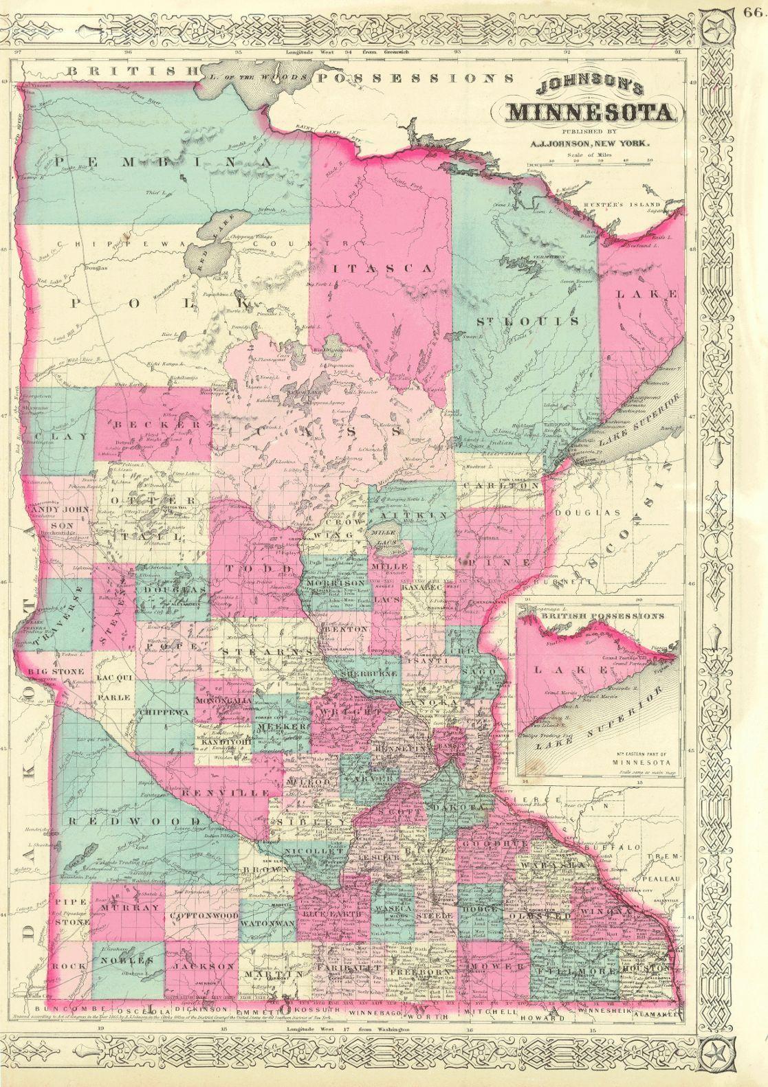 Johnson s Minnesota Map showing towns roads railroads