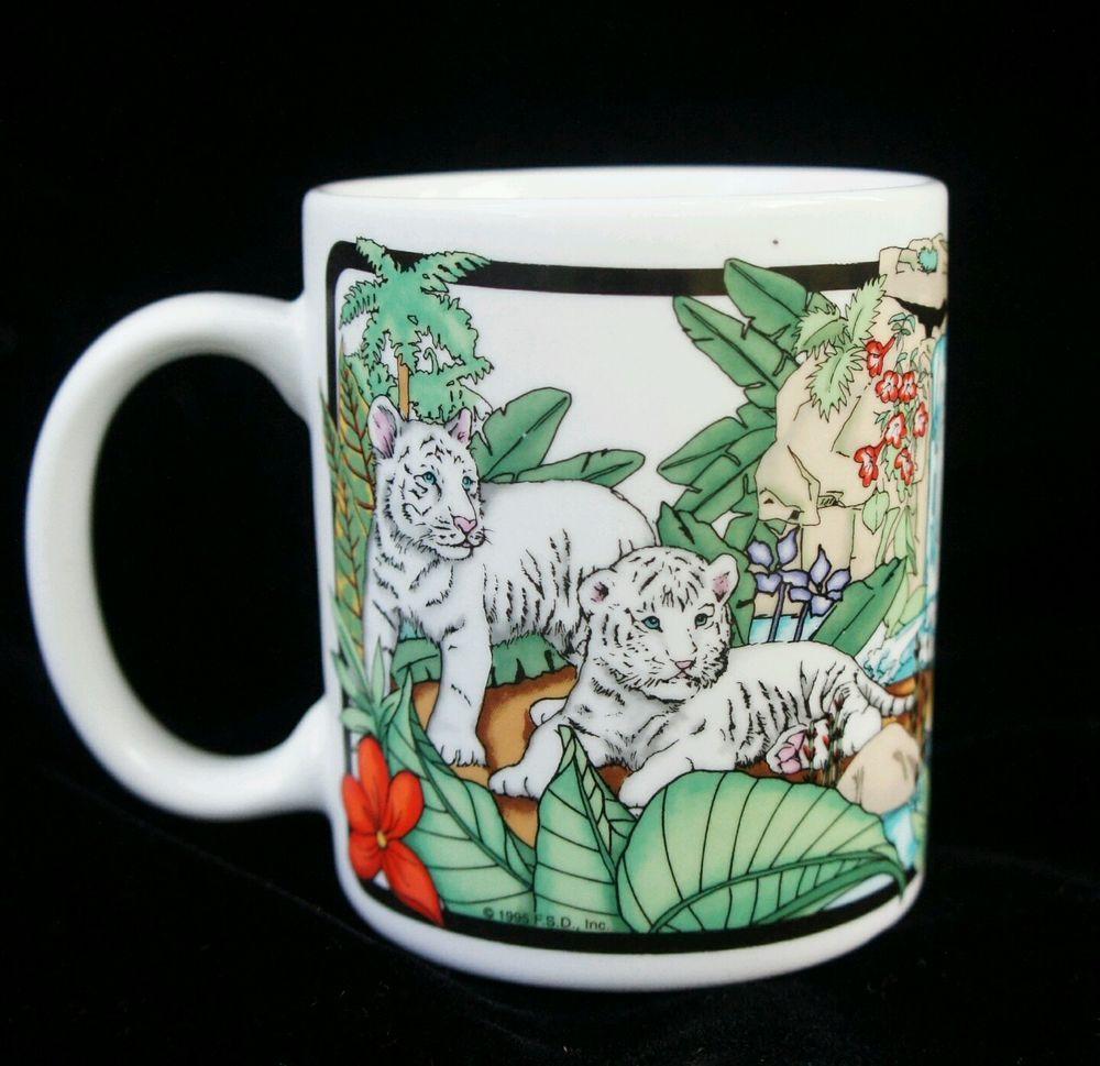 Siegfried & Roy White Tigers Coffee Mug Cup Mirage Casino Tiger Cubs linyi