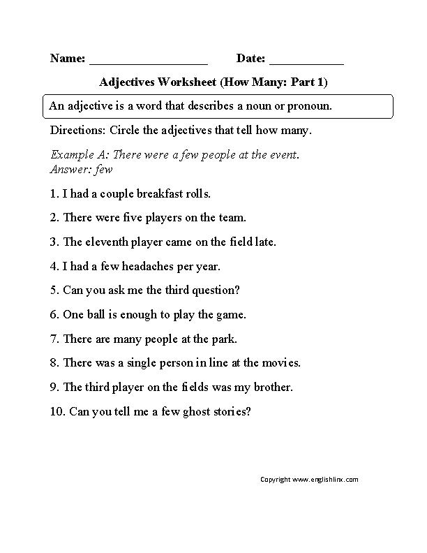 Adjectives Worksheet How Many Part 1 Beginner | Home ...