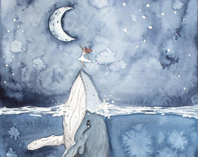 "Photo of Aquarell Malerei, Walmalerei, Walkunst, Wal in Bottle, Bottle Art, Whale Print, Beach Decor, Nautical, Print mit dem Titel ""Sea Glass"""