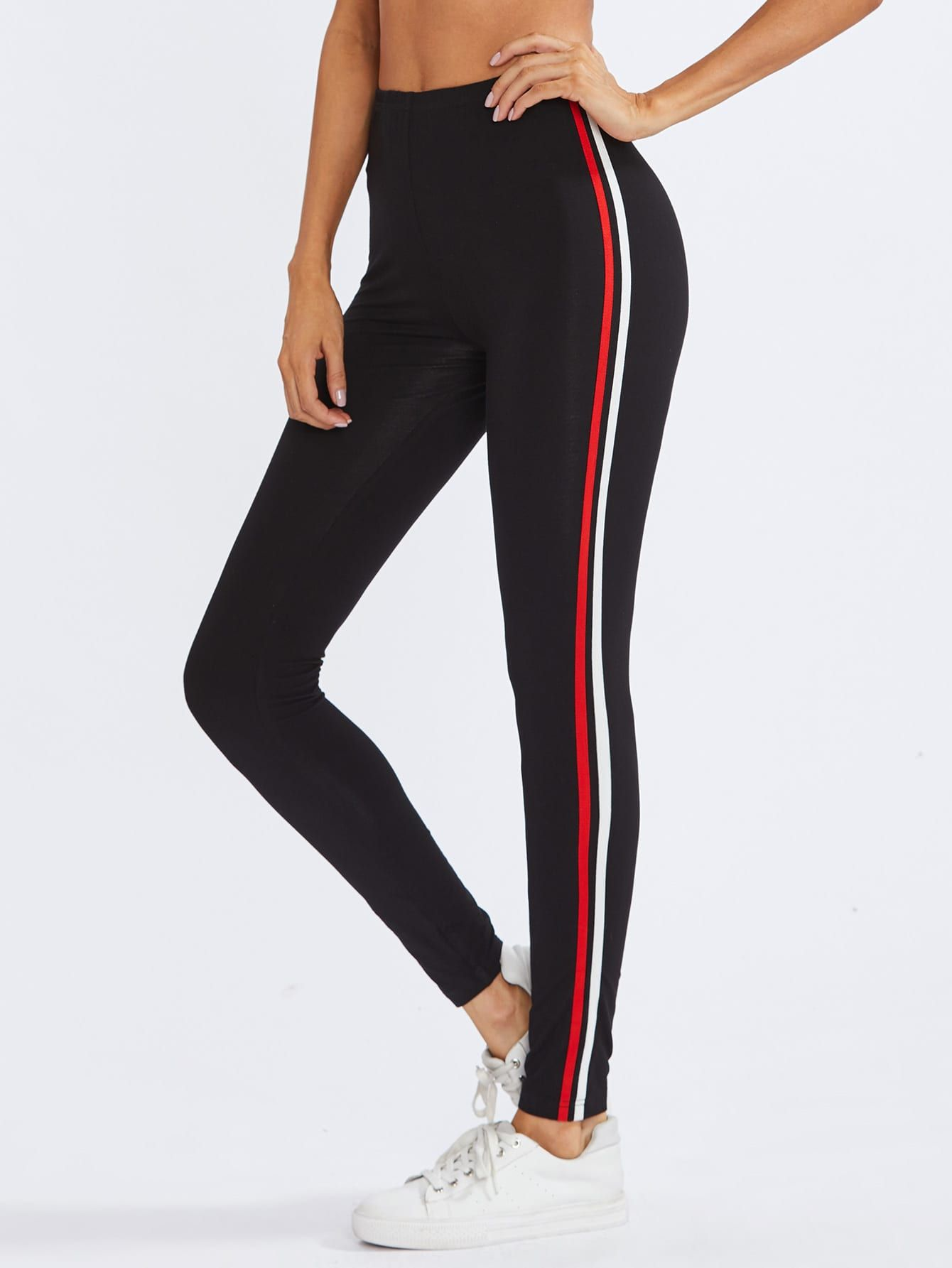fc3b3c837ebdb Get more info about why peoples like Sporty Regular Striped Black Crop  Length Striped Side Leggings on daydaychic.com. Our wide fashion clothing  selection ...
