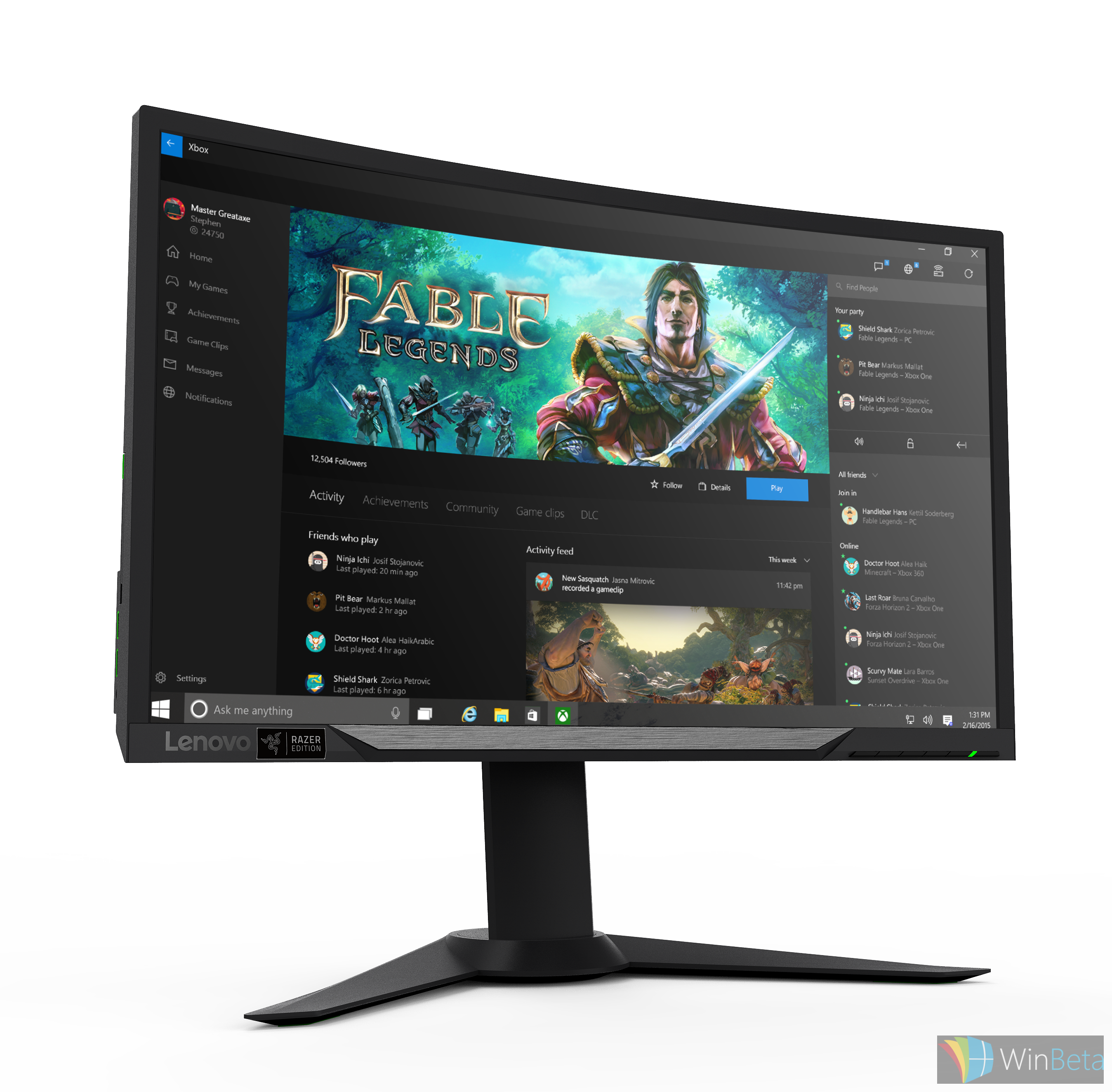 Lenovo Y27g RE Curved Gaming Monitor front angled with wallpaper CES 2016 This is Lenovo and Razer s new gaming desktop and curved monitor