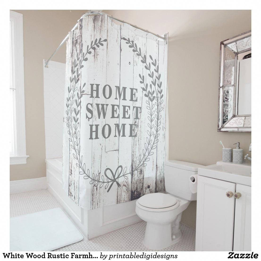 Purchase White Wood Rustic Farmhouse Home Sweet Home Shower Curtain farmhousedecor Shabbychicbathrooms