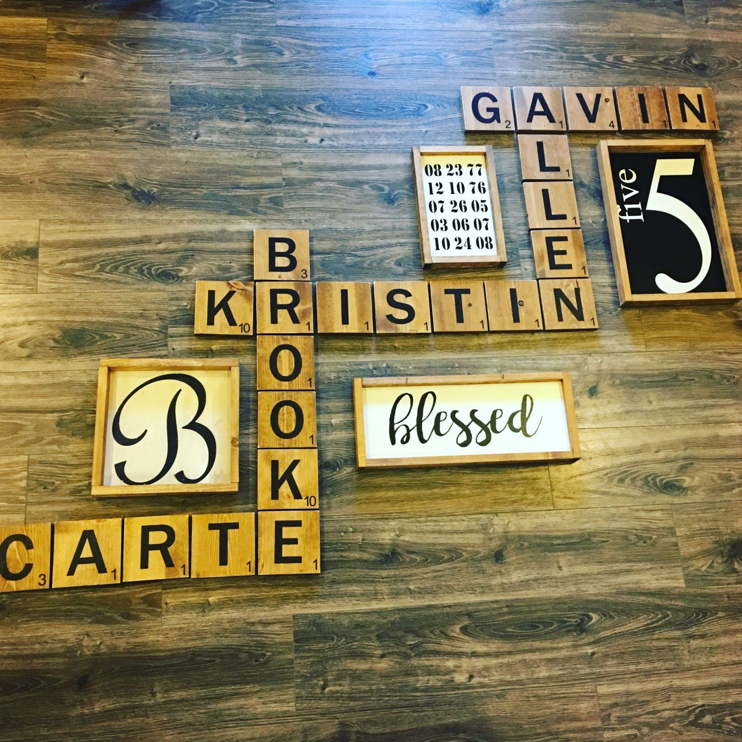 Large wood letter tiles! Wood wall art- Display family names in a ...