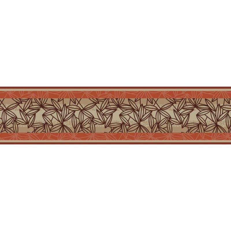 york wallcoverings bg1685bd graphic leaves stripe border brown