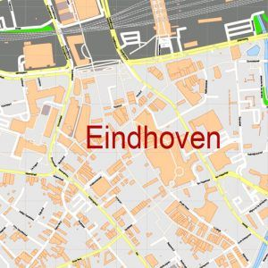 Map Eindhoven Netherlands Printable Vector, exact detailed City Plan ...