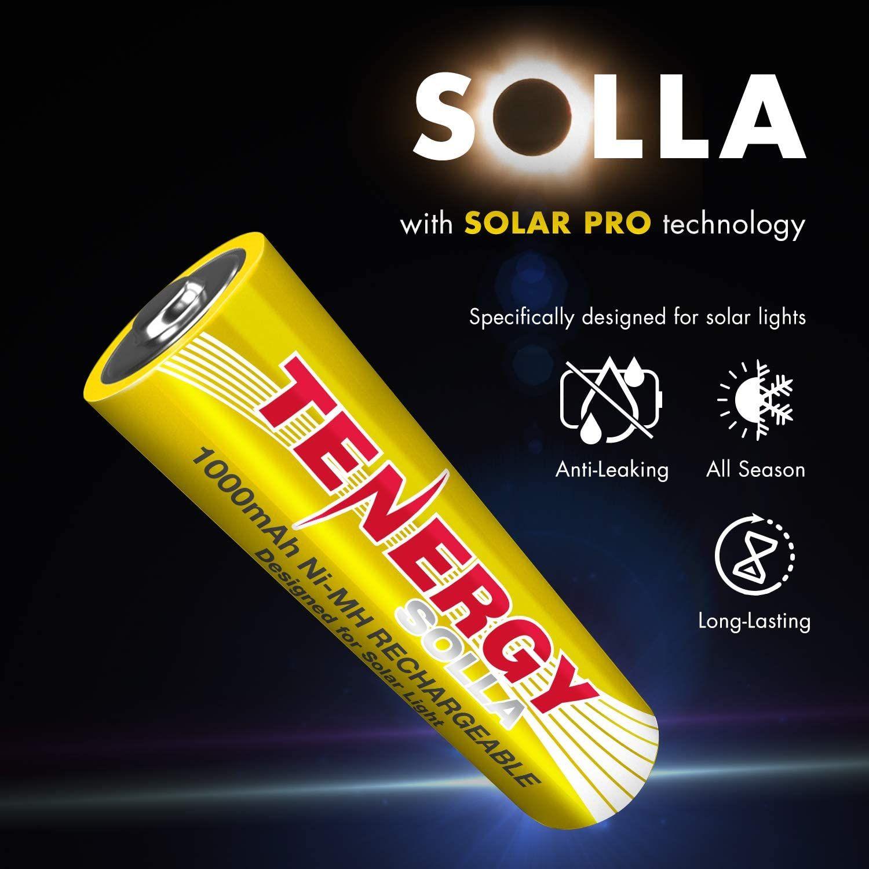 Tenergy Solla Rechargeable Nimh Aa Battery 1000mah Solar Batteries For Solar Garden Lights Solar Battery Solar Lights Solar Lights Garden