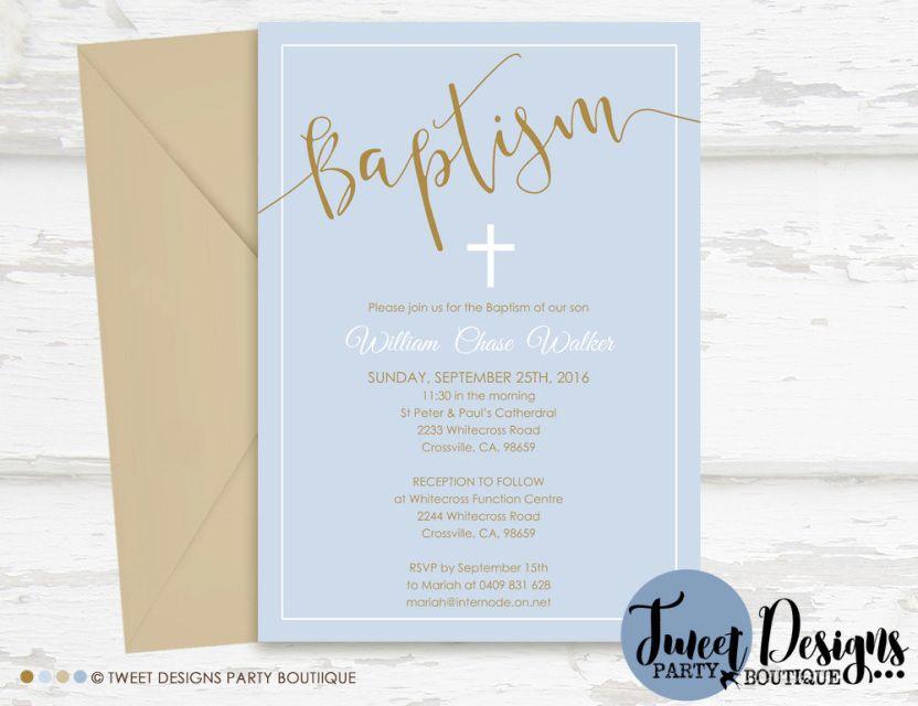 Boy Christening Invitations, Boy Baptism Invitation, Print ...