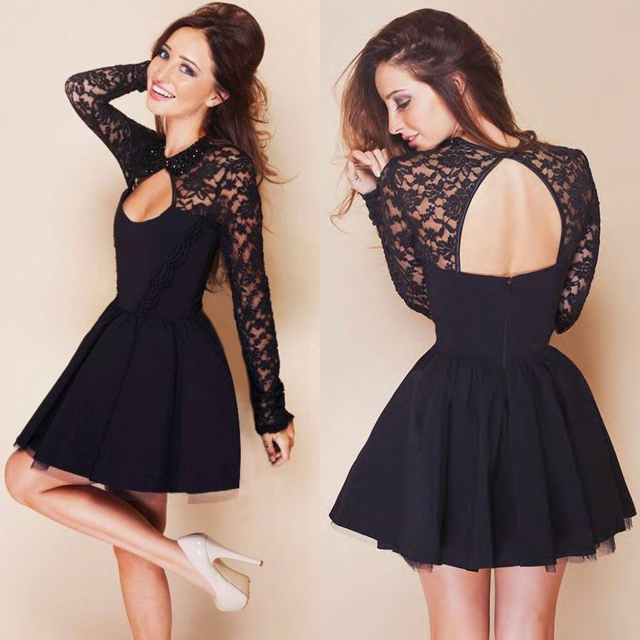 Women Bandage Bodycon Long Sleeve Prom Club Cocktail Party Lace ...