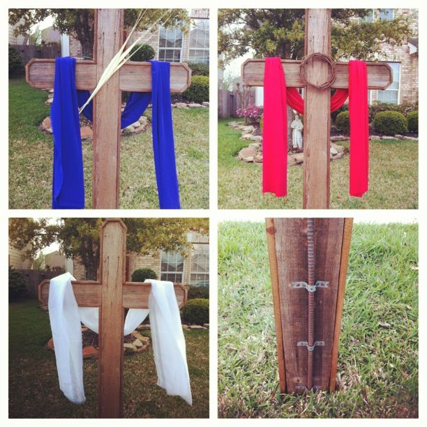 Purple For Palm Sunday Red For Good Friday And White For Easter Sunday Six Foot Cross In The Front Yard H Easter Yard Decorations Easter Yard Art Easter Diy