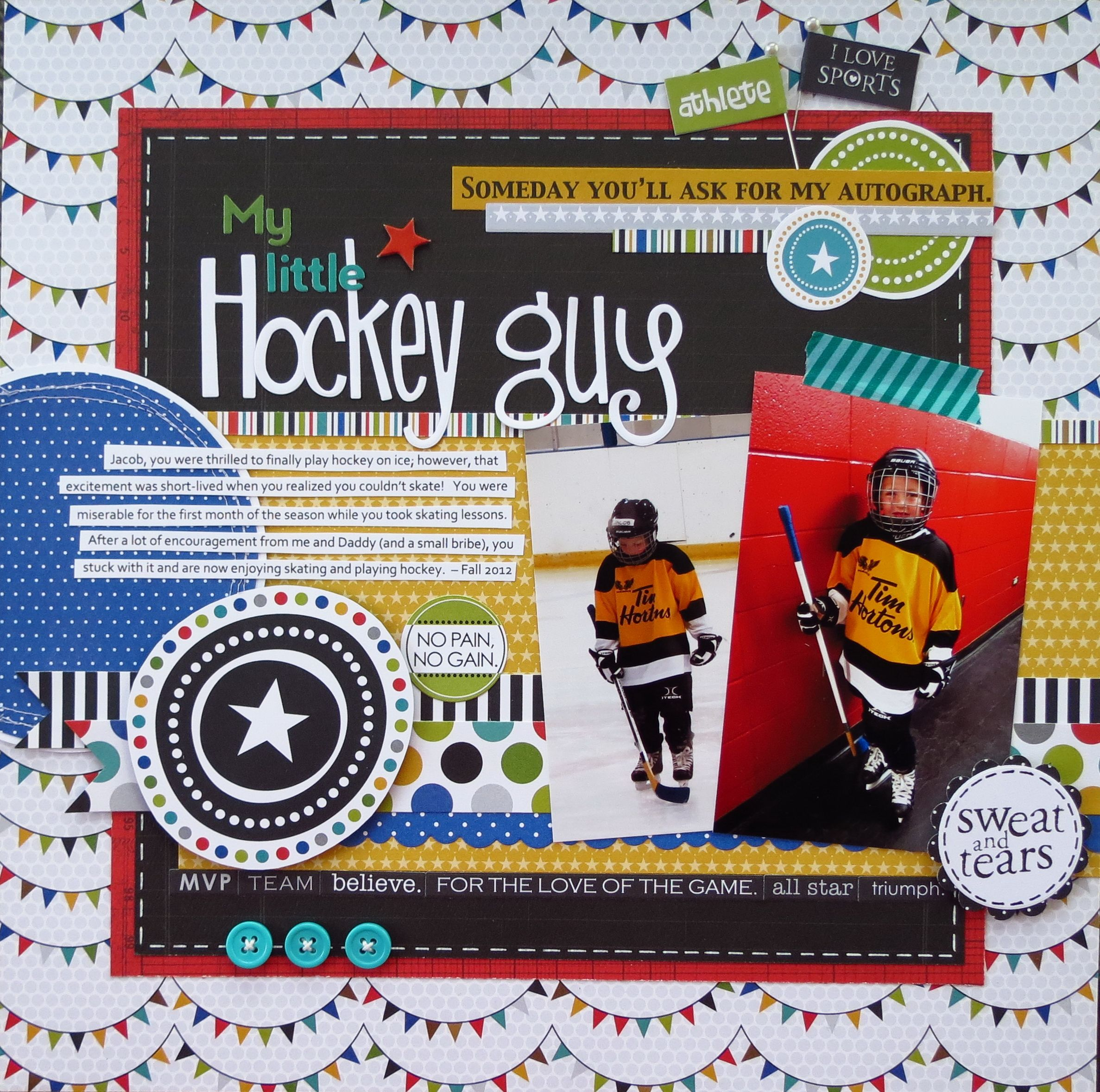 my little hockey guy scrapbook com iwant to use this layout for