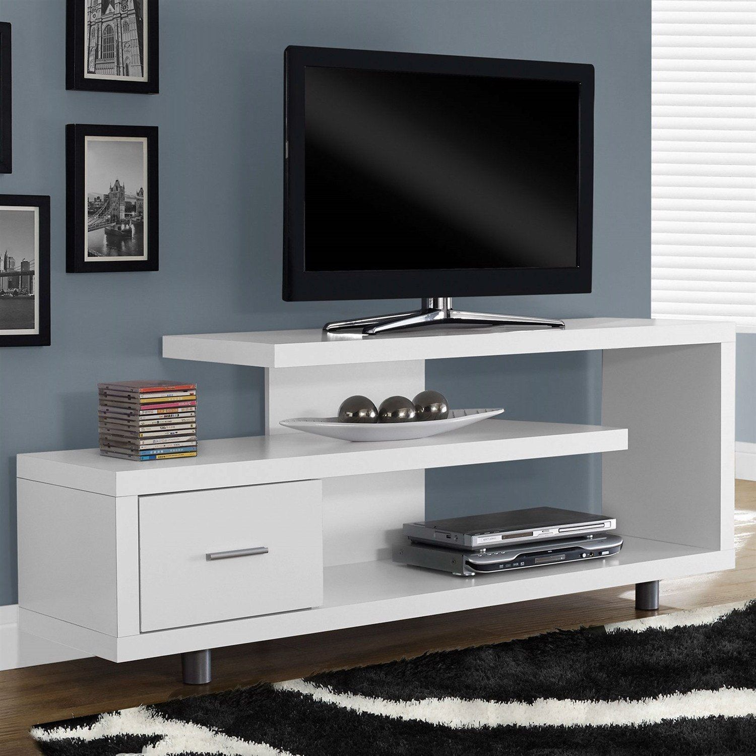 White Modern Tv Stand Fits Up To 60 Inch Flat Screen Tv Tvstand Tv Stand Furniture Tv Stand Decor White Tv Stands