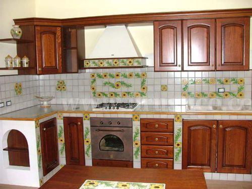 Cucina in finta muratura fai da te piastrelle in cotto ...