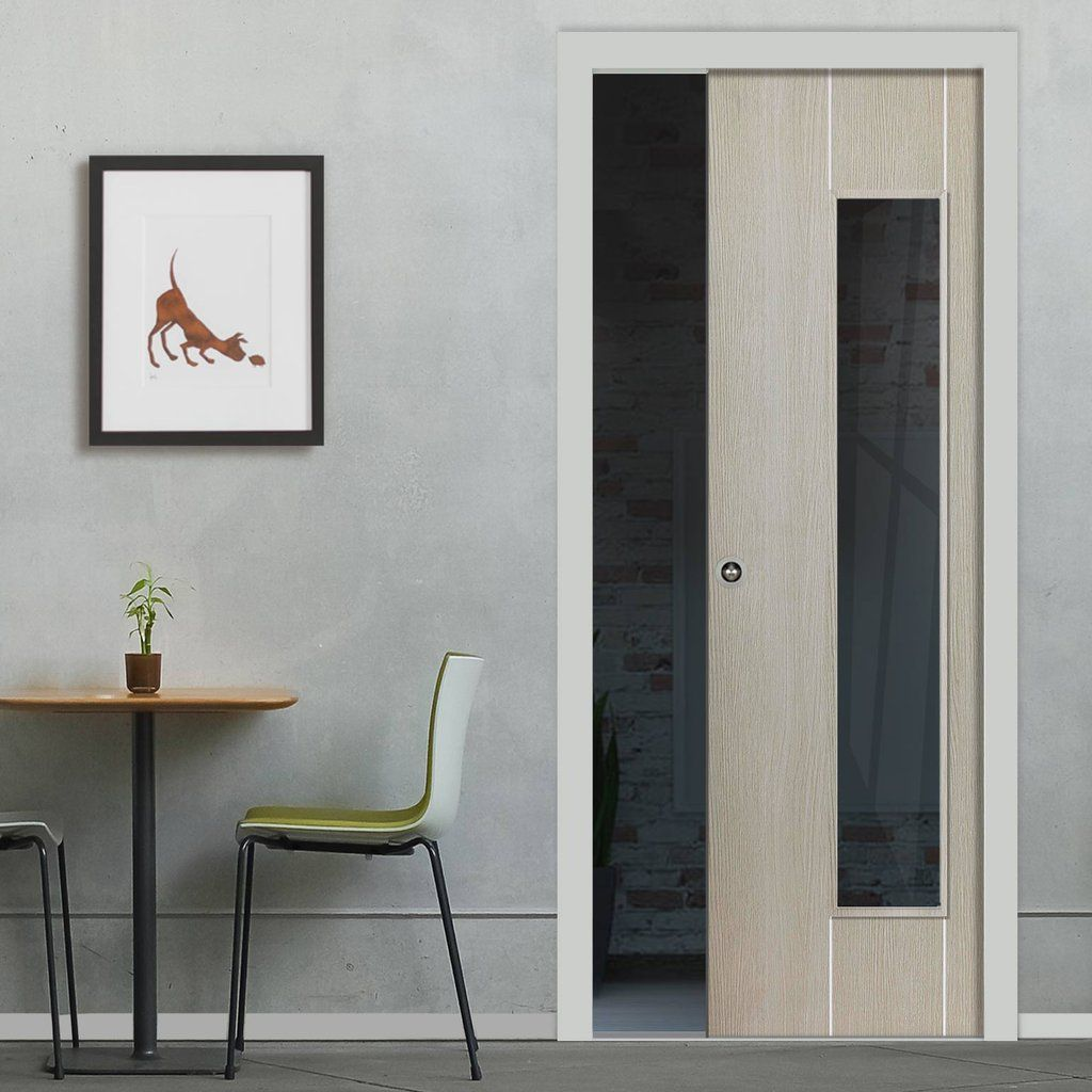 nuance viridis single pocket door clear glass prefinished