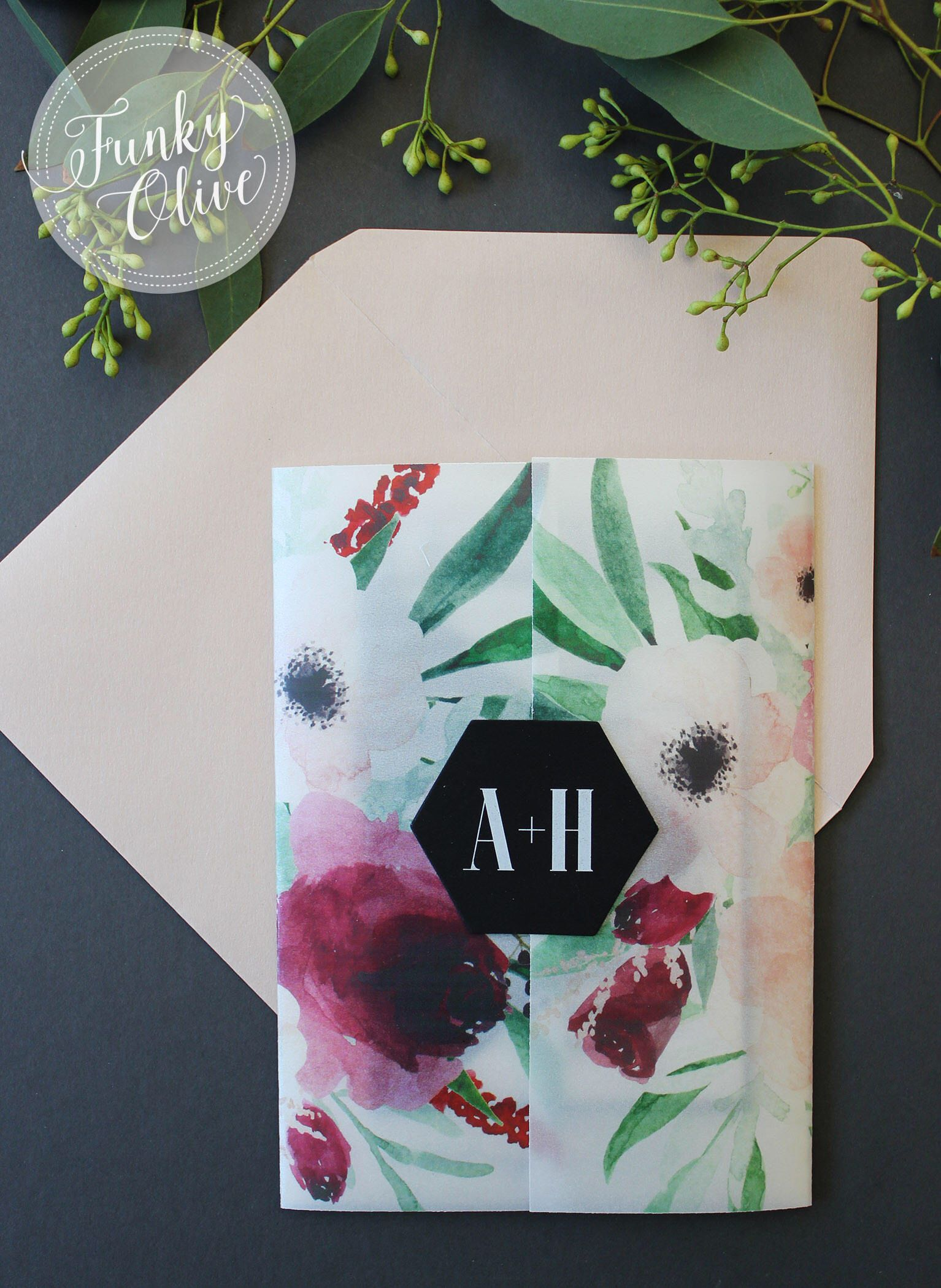 Floral Watercolor Wedding Invitation Vellum Wrap Hexagon Seal