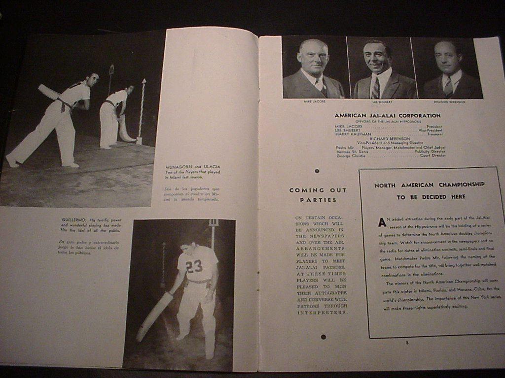 "1938-39 JAI-ALAI (""HI-LI"") FINAL NEW YORK HIPPODROME PROGRAM, RUPPERT'S BEER AD | eBay"