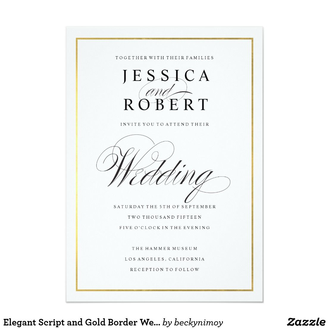 Elegant Script And Gold Border Wedding Invitation Elegant Wedding