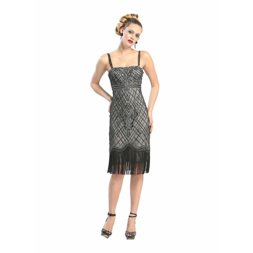 SUE WONG NEW Black Beaded Fringe Trim Prom Cocktail Dress 8 BHFO in ...