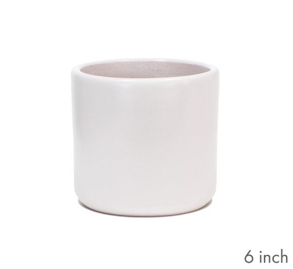 Matte White Cylinder Planter Indoor Modern Flower Pot Ceramic Terracotta 6 8 And 10 Inch Sizes Modern Flower Flower Pots Planters