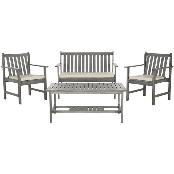 Safavieh Burbank Grey Wash Acacia Wood 4 Piece Outdoor Furniture Set    Overstock™ Shopping   Big Discounts On Safavieh Sofas, Chairs U0026 Sectionals